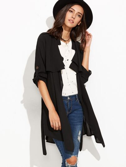 Black Ruffle Front Self Tie Coat