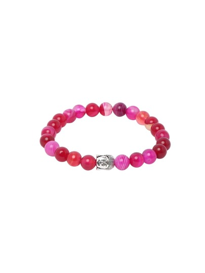 Hot Pink Network Stone Beaded Buddha Head Stretch Charm Bracelet