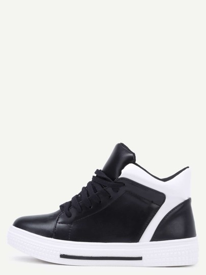 Black Round Toe Lace Up High Top Sneakers