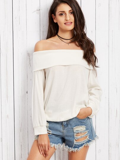 White Off The Shoulder T-shirt