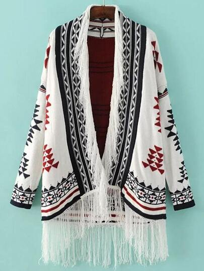 White Geometric Pattern Fringe Trim Loose Cardigan