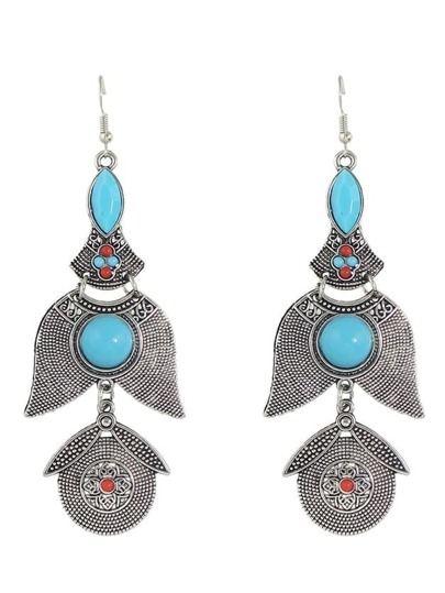 Antique Silver New Indian Imitation Gemstone Hanging Drop Earrings For Women