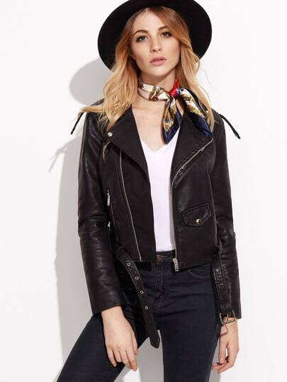 BLack Faux Leather Belted Moto Jacket With Zipper