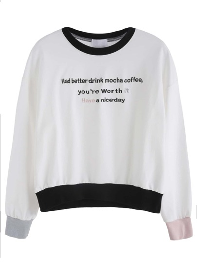 Color Block Letter Print Drop Shoulder Sweatshirt