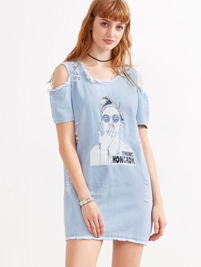 Blue Girl Print Open Shoulder Sequin Frayed Denim Dress