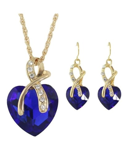 Blue New Colorful Rhinestone Heart Shape Pendant Necklace Earrings Set