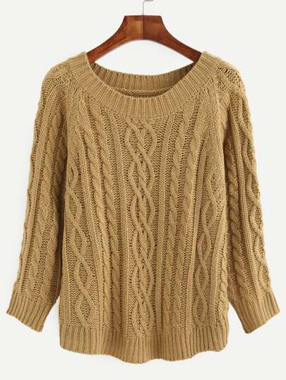 Khaki Cable-knit Round Neck Long Sleeve Sweater