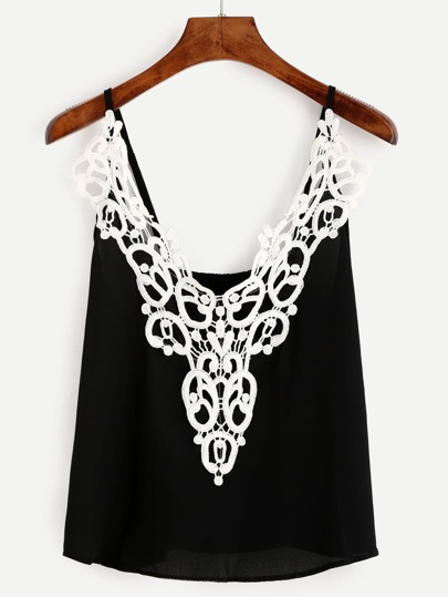 Black Lace Applique Cami Top