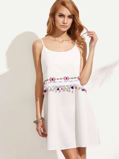 White Embroidered Tassel Trim Spaghetti Strap Dress