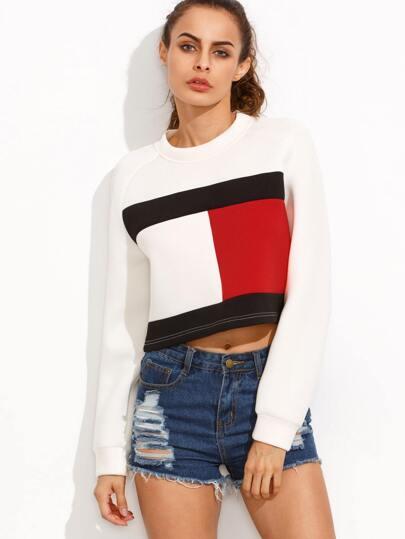 Color Block Round Neck Long Sleeve Crop Sweatshirt