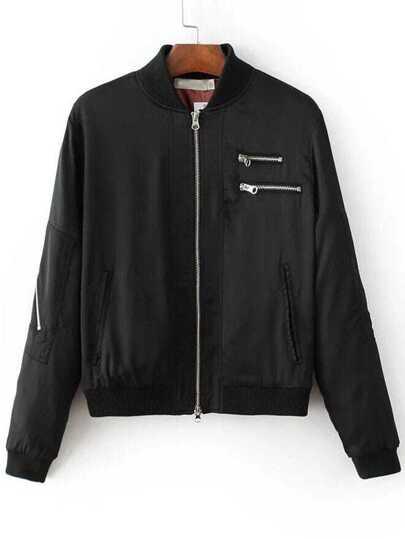 Black Multi Zipper Bomber Jacket