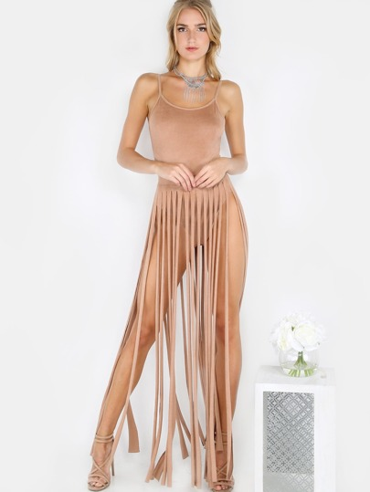 Fringe Bodysuit Suede Co-Ord Set MOCHA