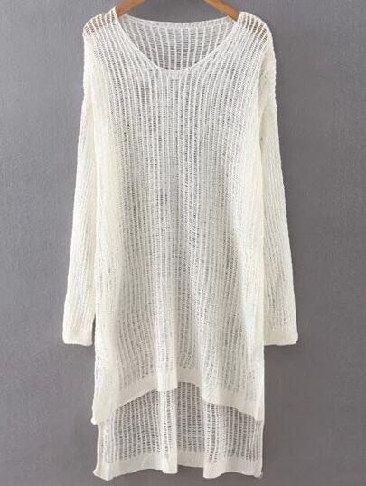 White Hollow Out Dip Hem Sweater Dress