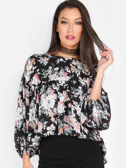Floral Flow Sleeved Top BLACK