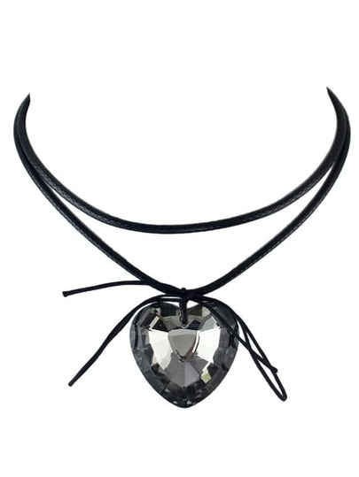 Gunblack Gothic Briaided Rope Choker Collar Necklace With Heart Shape Rhinestone
