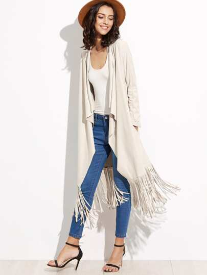White Faux Suede Waterfall Fringe Coat
