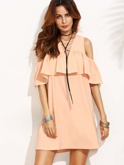 Pink Cold Shoulder Ruffle Criss Cross V Neck Dress