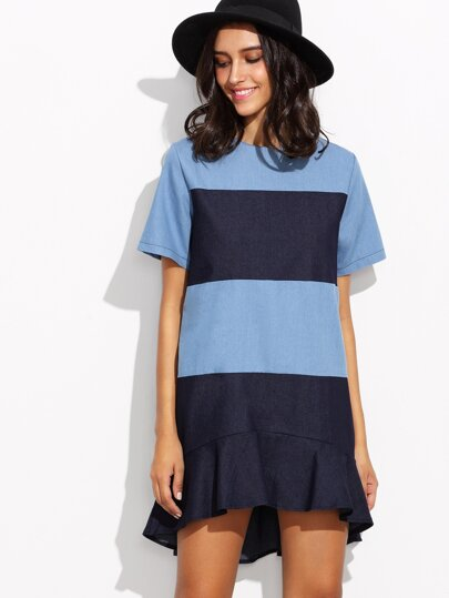 Color Block Drop Waist Dip Hem Denim Dress
