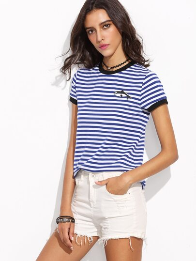 Blue Striped Whale Print Ringer T-shirt