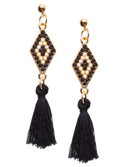 Black Tassel Geometric Beaded Drop Earrings