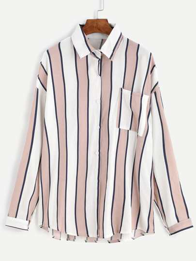 Pink Vertical Striped Pocket Front Blouse