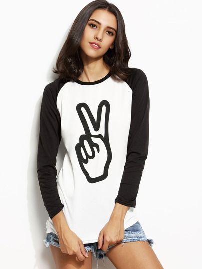 Gesture Print Contrast Raglan Sleeve Pocket T-shirt