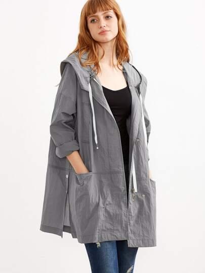 Grey Drop Shoulder Drawstring Hooded Coat With Pockets