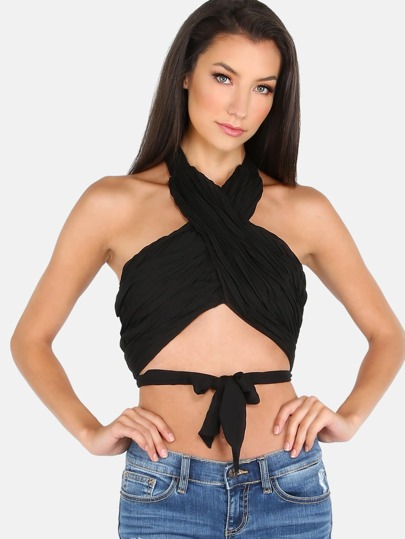 Cross Over Chiffon Wrap Crop Top BLACK