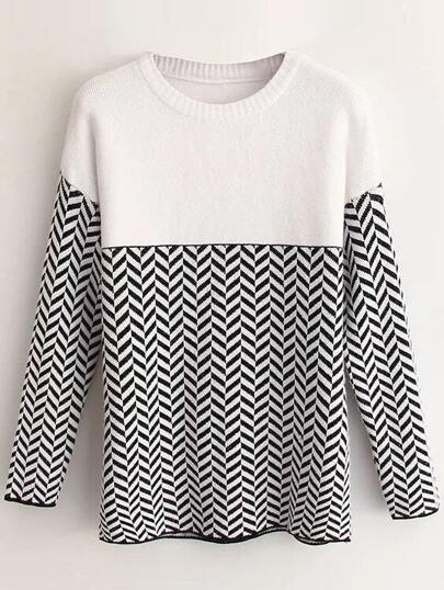 White Wave Patterned Drop Shoulder Sweater