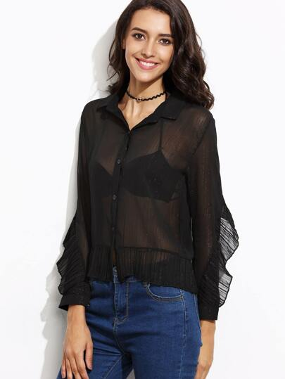 Black Lapel Mesh Ruffle Shirt