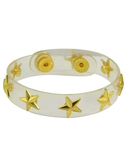 Gold Clear Stars Charms Adjustable Bracelet