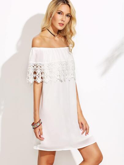 White Crochet Trim Off The Shoulder Ruffle Dress