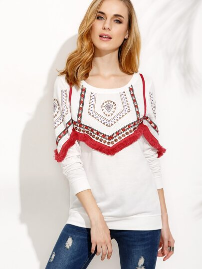 White Embroidered Sweatshirt With Fringe Detail