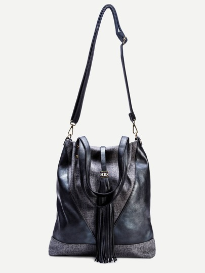 Black Faux Leather Tassel Trim Drawstring Bucket Bag