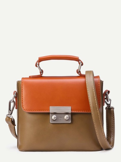 Coffee Contrast Flap Pushlock Closure Satchel Bag