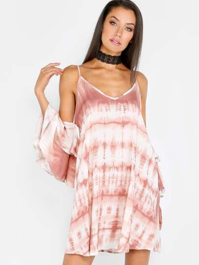 Tie Dye Cold Shoulder Dress RUST