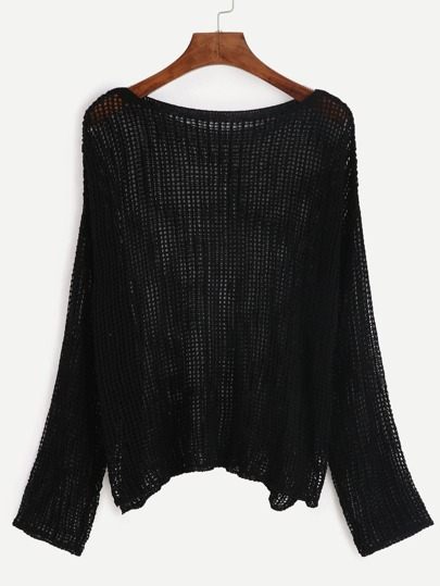 Black Hollow Out Sweater