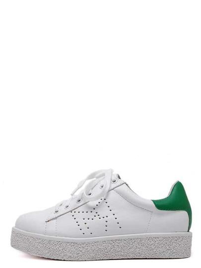 Sneakers en semelle plate bout rond avec lacet - blanc