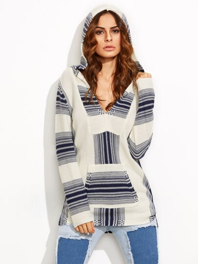 Multicolor Hooded Long Sleeve Pockets Sweater