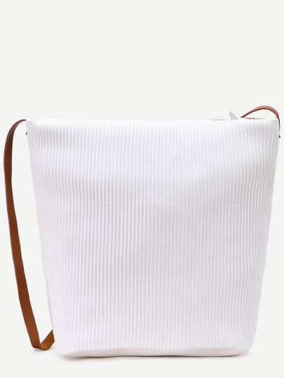 White Faux Leather Stripe Embossed Shoulder Bag