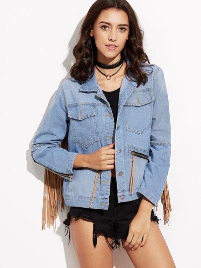 Blue Fringe Zipper Denim Jacket