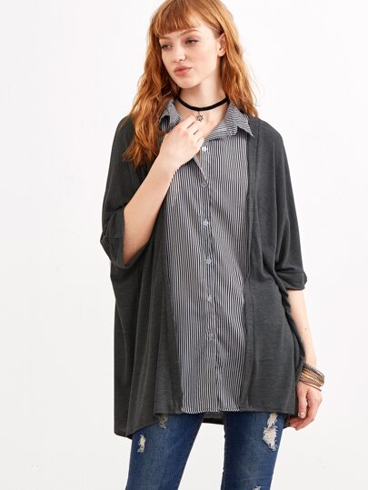 Dark Grey Elbow Sleeve Contrast Vertical Striped Blouse