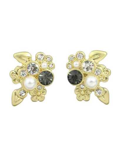 Rhinestone Flower Small Stud Earrings