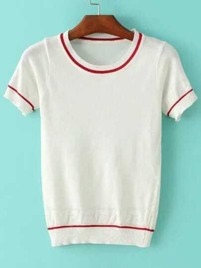 White Striped Trim Short Sleeve Sweater