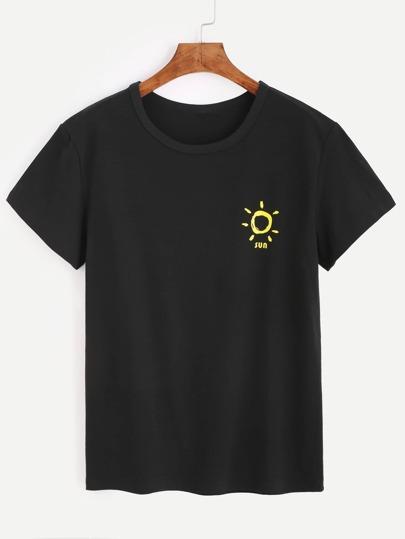 Black Sun Print T-shirt