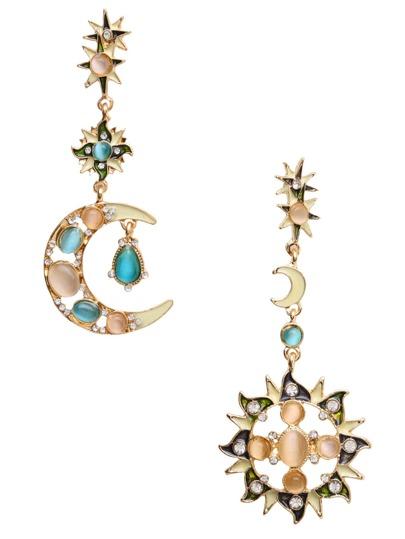 Gold Asymmetric Star Sun Moon Rhinestone Drop Earrings