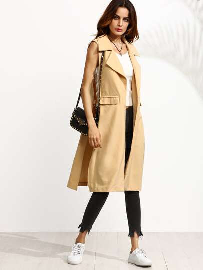 Khaki Cutout Side Ring Detail Sleeveless Coat
