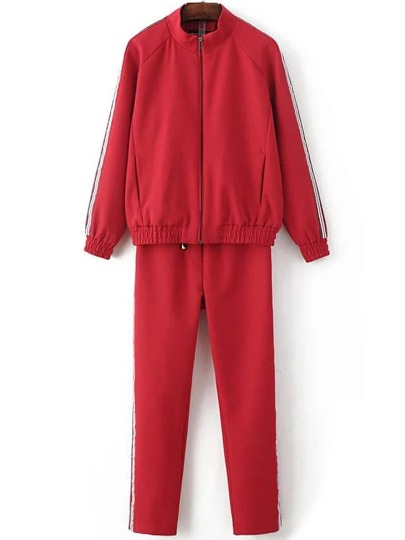 Red Striped Zipper Jacket With Drawstring Pants