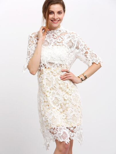 White Half Sleeve Concret Lace Dress