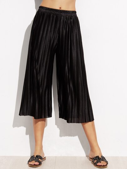 Black Elastic Waist Pleated Capris